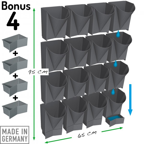 "Vertical Garden WALL 16er Komplett-Set ""Bonus 4"" anthrazit"