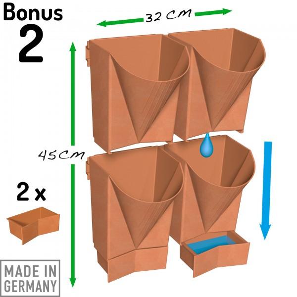 """Vertical Garden WALL 4er Komplett-Set """"Bonus 2"""" terracotta"""