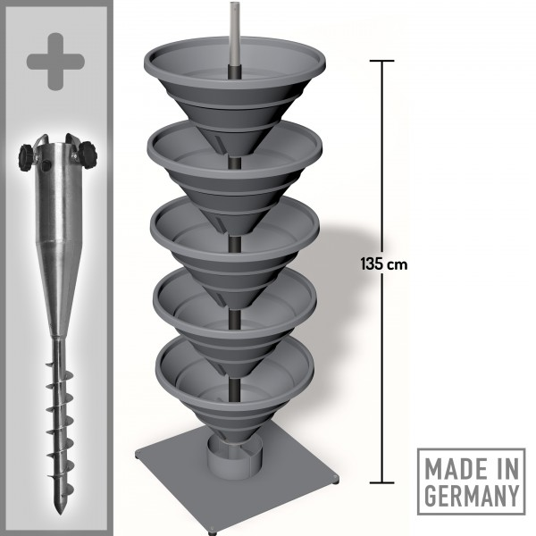 Das Turm-Hochbeet im Freiland mit Zubehör Spezial-Bodenhülse