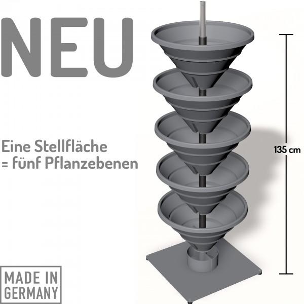 Das Turm-Hochbeet mit den fünf Pflanz-Etagen: ca. 1 qm Pflanzfäche!